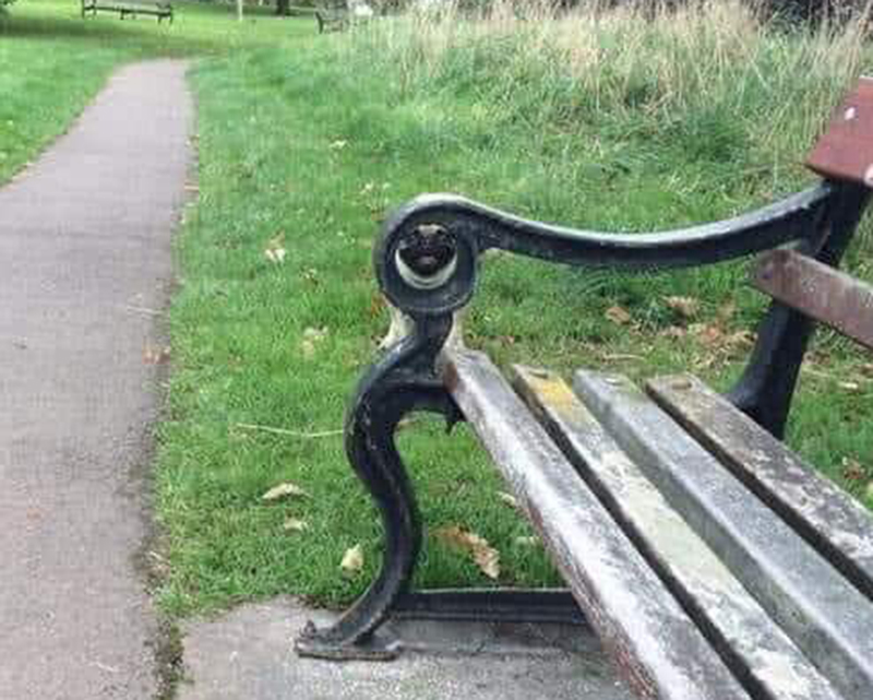 A pug can be seen looking through the arm of a bench.